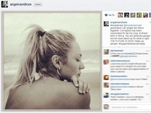 A modelo Candice Swanepoel posta foto em que mostra apoio às manifestações (Foto: Reprodução/Instagram)