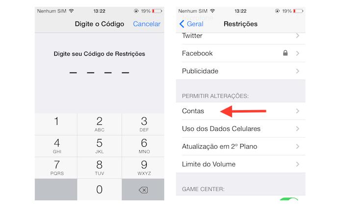 Acessando as restrições de contas vinculadas ao iOS (Foto: Reprodução/Marvin Costa)