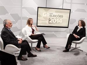 A candidata à Presidência da República pelo PSOL, Luciana Genro, é entrevistada pelos jornalistas Tonico Ferreira e Nathalia Passarinho no estúdio do G1 em São Paulo (Foto: Caio Kenji/G1)