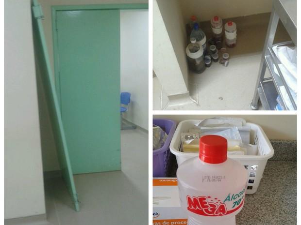 Portas quebradas, material cirurgico de pacientes mal acondiconados e álcool vendico (Foto: Arquivo pessoal)