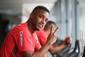 Jorge em treino no Nnho do Urubu (Foto: Gilvan de Souza / Flamengo)