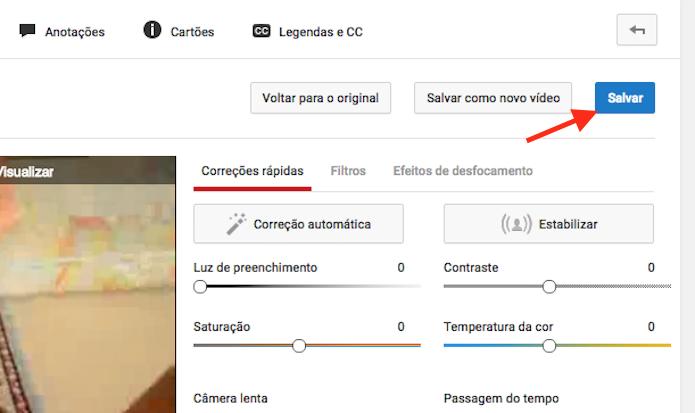 Salvando as alterações realizadas para simular o efeito time-lapse em um vídeo do YouTube (Foto: Reprodução/Marvin Costa)