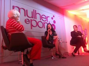 Raquel Moreno, Clarice Niskier e Joana de Vilhena Moraes debatem sobre beleza (Foto: Isabela Marinho/G1)