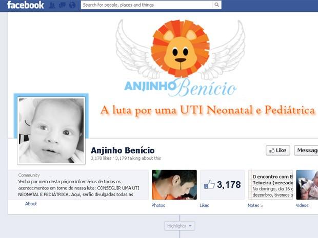 Mãe criou página no Facebook após a morte do filho com o objetivo de conseguir a criação de uma UTI neonatal em Queimados, na Baixada Fluminense (Foto: Reprodução/Facebook)