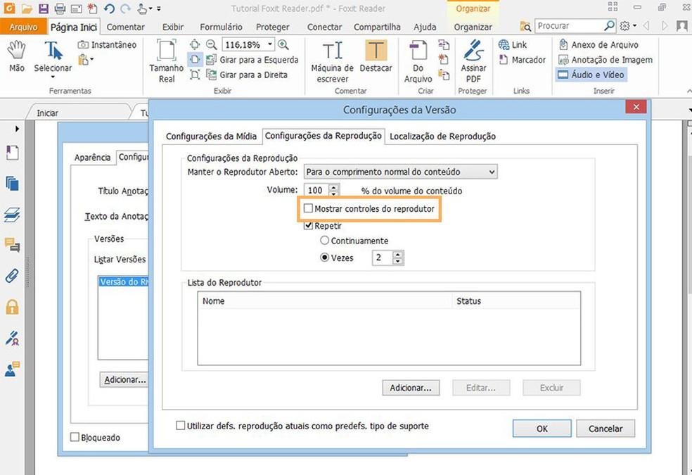 Adicione controladores de mídia ao reproduzir os arquivos no documento PDF  (Foto: Reprodução/Davi de Lima)