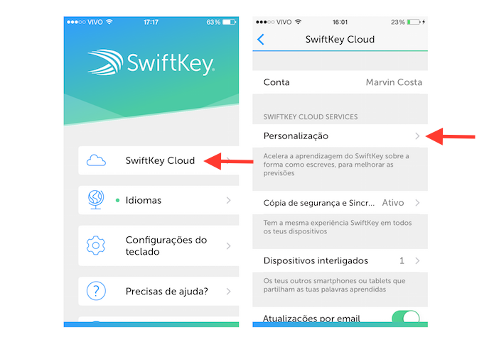 Acessando as configurações de personalização do SwifKey no iOS (Foto: Reprodução/Marvin Costa)