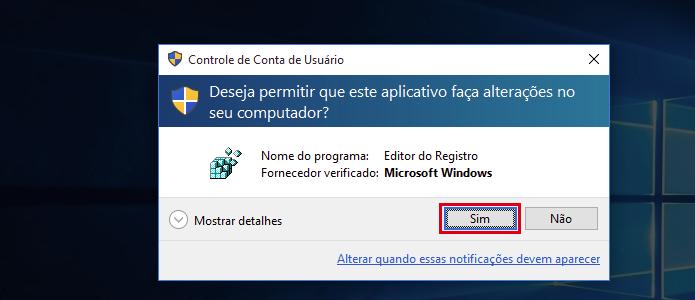 Autorizando a execução do registro do Windows (Foto: Reprodução/Edivaldo Brito)