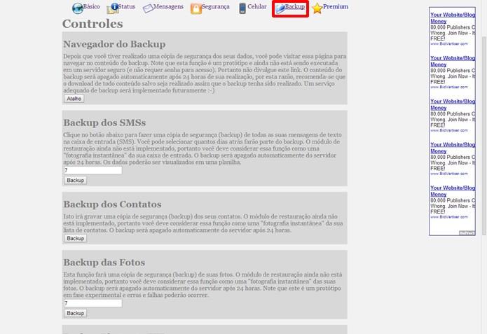 """No menu """"Backup"""" você encontrará opções para resgatar os dados de seu dispositivo Android (Foto: Reprodução/Daniel Ribeiro)"""