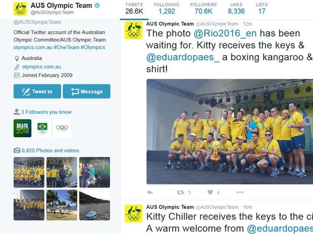 Time olímpico australiano 'faz as pazes' com Paes em rede social (Foto: Reprodução/Twitter)