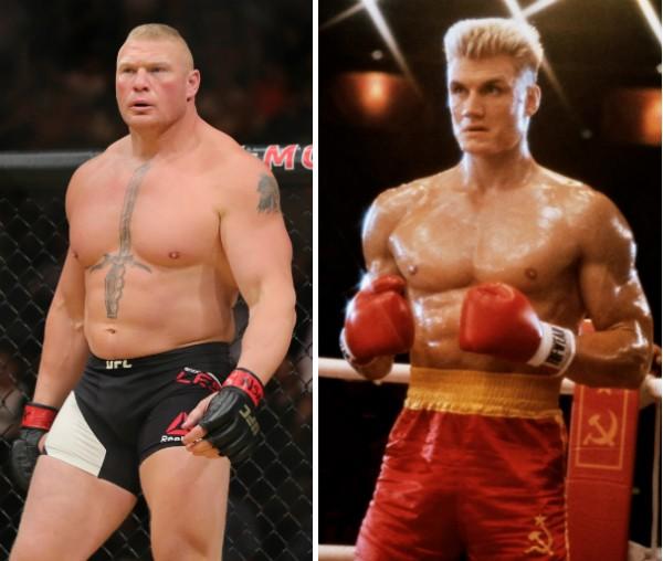 O lutador do UFC Brock Lesnar e o ator Dolph Lundgren no papel de Ivan Drago (Foto: Getty Images/Reprodução)