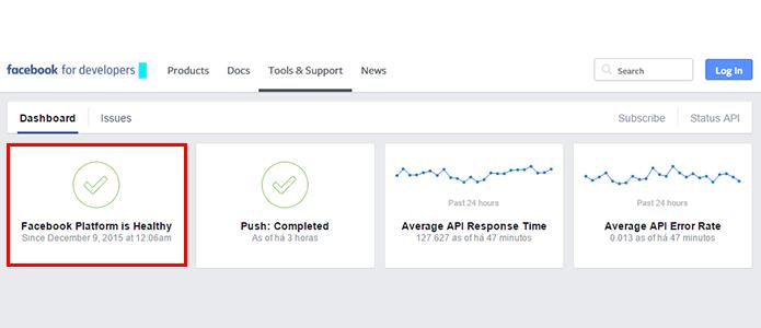 Veja a indicação de funcionamento do Facebook (Foto: Reprodução/Paulo Alves)