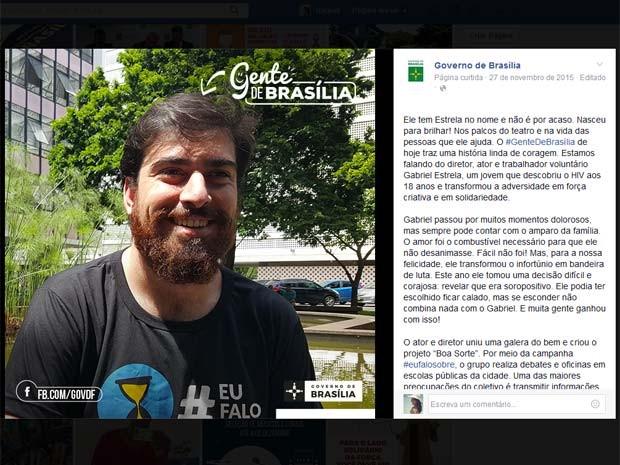 O diretor, ator e trabalhador voluntário Gabriel Estrela, no quadro #gentedeBrasília (Foto: Facebook/Reprodução)