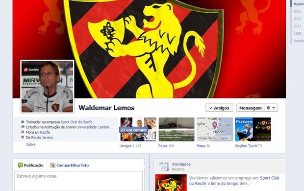 Waldemar Lemos, técnico do Sport, no Facebook (Foto: Reprodução/ Facebook)