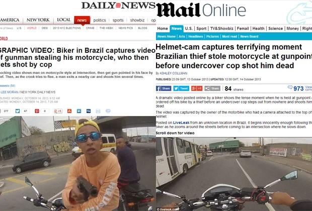 """Os jornais """"New York Daily News"""" e """"Daily Mail"""" também falaram sobre o caso (Foto: Reprodução)"""