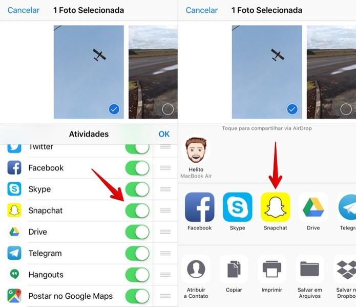 Ativando extensão de compartilhamento do Snapchat (Foto: Reprodução/Helito Bijora)