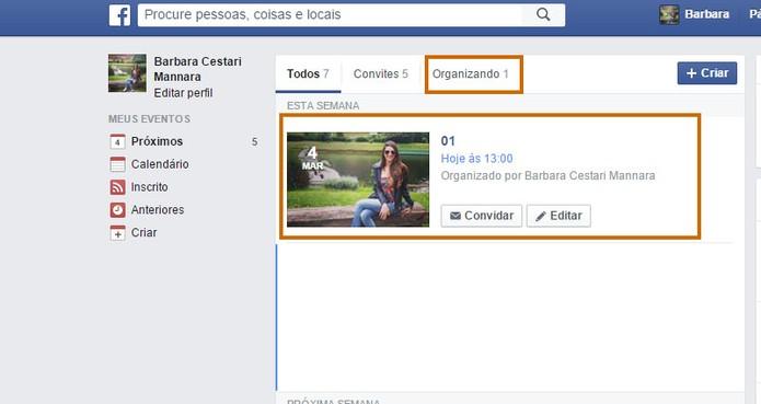 Encontrei seu evento no Facebook para convidar os amigos por e-mail (Foto: Reprodução/Barbara Mannara)