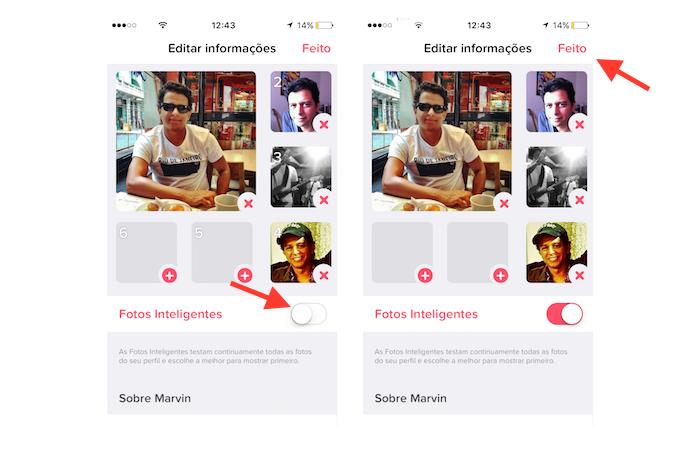 Ativação do recurso fotos inteligentes do Tinder (Foto: Reprodução/Marvin Costa)