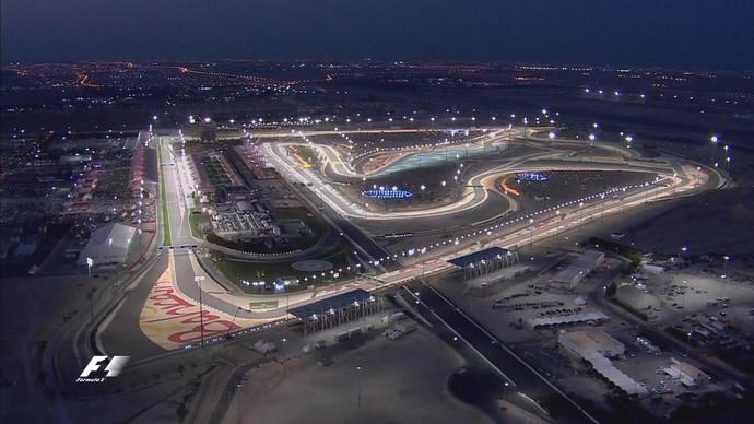 Vista aérea do Circuito Internacional do Bahrein, palco do GP do Bahrein (Foto: Reprodução/Twitter)