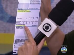Informação sobre sistema que abastece imóvel está em conta d'água (Foto: Reprodução/TV Globo)