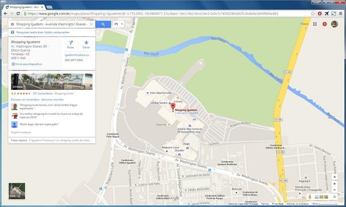 Procurando por um local no Google Maps para desktop (Foto: Felipe Alencar/TechTudo)