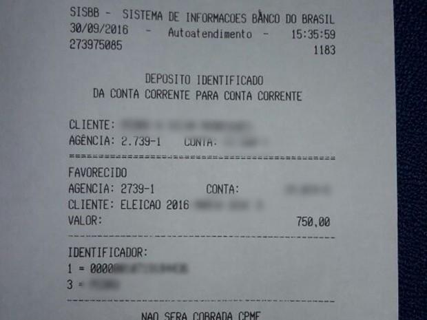 Comprovante do depósito da doação mostra que candidata foi beneficiada com R$ 750 (Foto: Caren Diniz/TV Asa Branca)