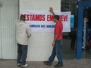 Agências de todo o estado foram afetadas pela paralisação  (Foto: Reprodução/ TV Gazeta)