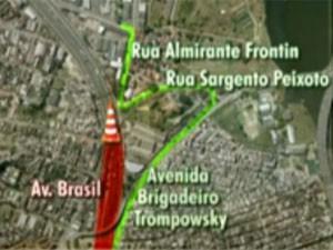 Opção 2 motoristas avenida brasil interdição (Foto: Reprodução / TV Globo)
