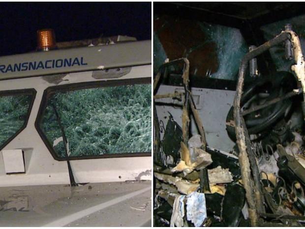 Estragos causados nos carros-fortes que foram alvos de quadrilha em Araras (Foto: Ely Venâncio/EPTV)