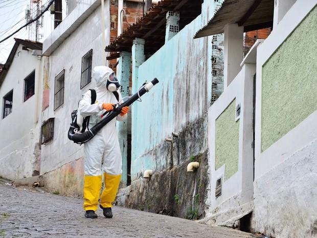 Agentes de saúde fazem pulverização de inseticida, popularmente conhecido como fumacê, no Recife. A medida faz parte do combate ao mosquito Aedes Aegypti, transmissor da dengue, zika e chikungunya (Foto: Pablo Kennedy/Futura Press/Estadão Conteúdo)
