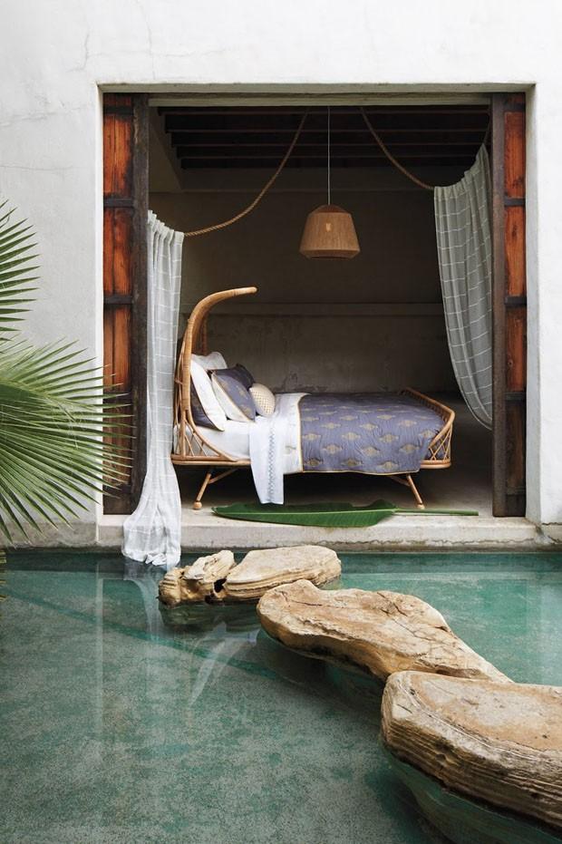 Décor do dia: quarto paradisíaco com cama de fibras naturais (Foto: reprodução)
