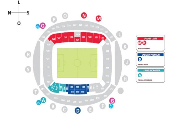 Locais disponíveis para as torcidas de América-RN e Estancaino na Arena das Dunas (Foto: Reprodução)