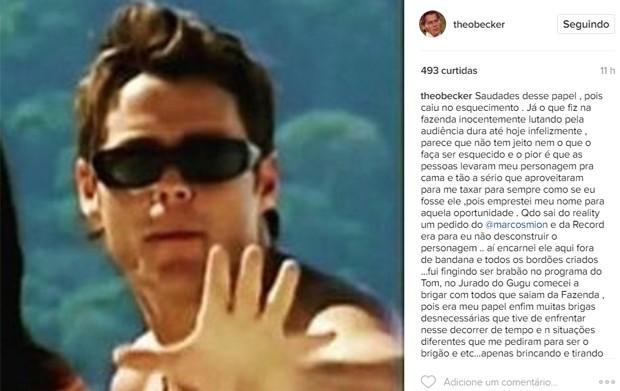 Theo Becker fez desabafo sobre esquecimento na web (Foto: Reprodução/Instagram)