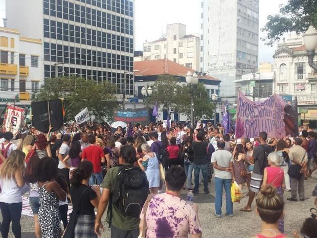 Segundo a Polícia Militar, cerca de 250 pessoas participaram do protesto (Foto: Roberta Steganha/G1)