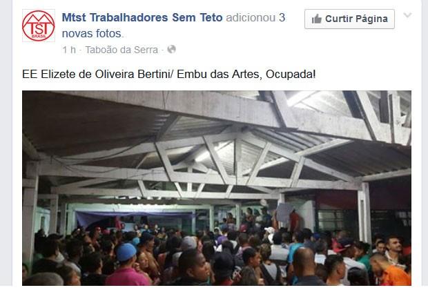 MTST publicou na sua página no Facebook fotos da invasão em escolas da Grande SP e Capital (Foto: Reprodução/Facebook/MTST)