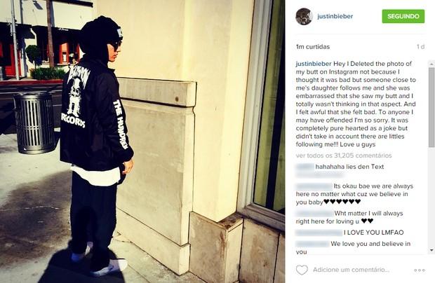 Justin Bieber pede desculpas em post no Instagram (Foto: Reprodução/ Instagram)