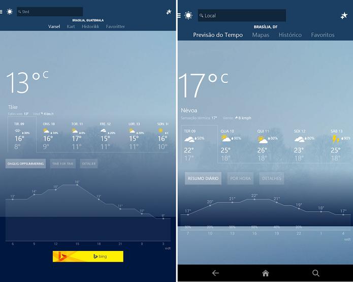 MSN Clima é um app que exibe condições meteorológicas (Foto: Divulgação/Android)