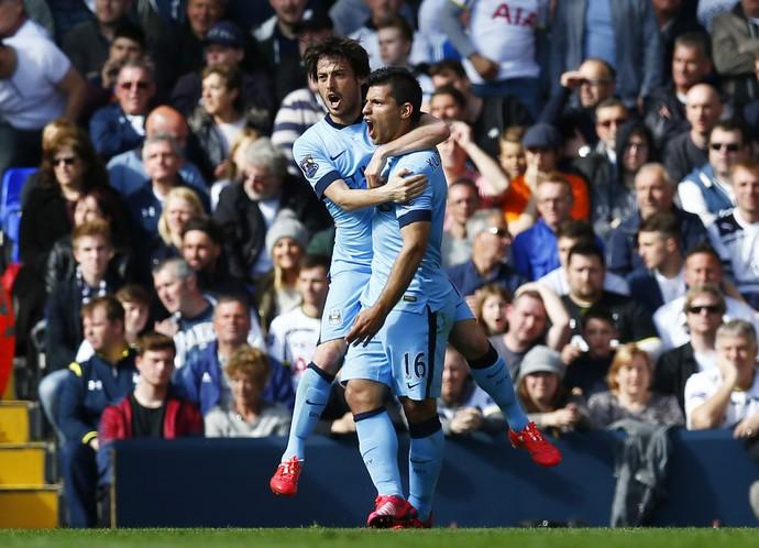 Agüero e David Silva Manchester City (Foto: Reuters)