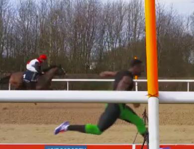Velocista britânico vence cavalo em prova de 100m (Foto: Reprodução/SporTV)