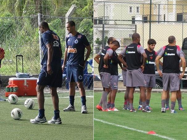 Jogadores treinam para a partida de domingo (Foto: Tarcisio Badaró / Globoesporte.com / Gustavo Rotstein / Globoesporte.com)