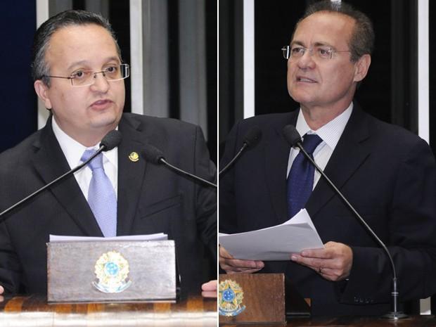 Os senadores Pedro Taques (PDT-MT) e Renan Calheiros (PMDB-AL), que disputam presidência do Senado (Foto: Agência Senado)