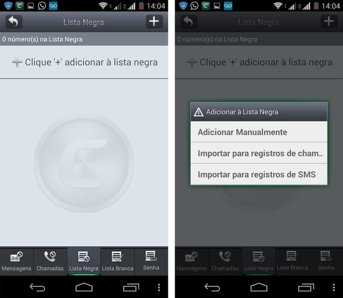 Sistema de bloqueio de chamadas e SMS do Comodo Mobile Security (Foto: Reprodução/ Marcela Vaz)