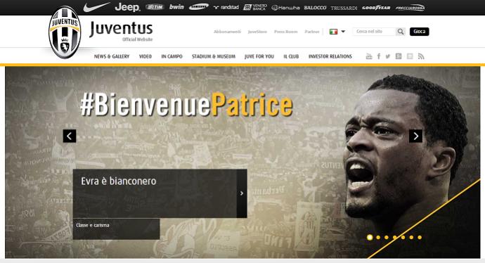 Evra no Juventus (Foto: Reprodução/Juventus.com)
