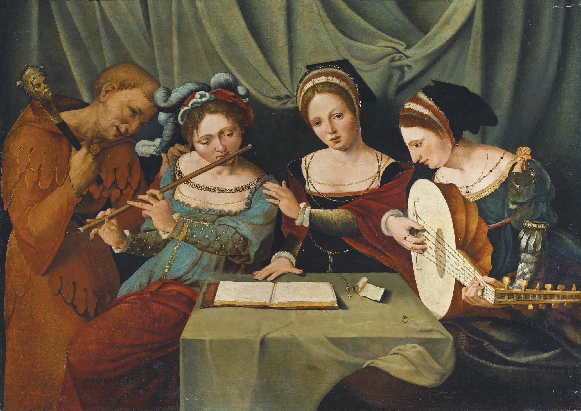 'Três jovens fazendo música com um bufão', obra do Mestre da figura média feminina (Foto: Wikimedia Commons)