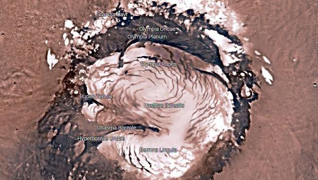 Visão do polo norte de Marte (Foto: Reprodução/Nasa)