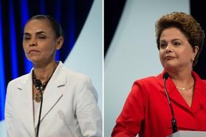 Marina Silva (PSB, à esq.) e Dilma Rousseff (PT) no segundo debate entre os presidenciáveis (Foto: Adriana Spaca/Brazil Photo Press/Agência O Globo)