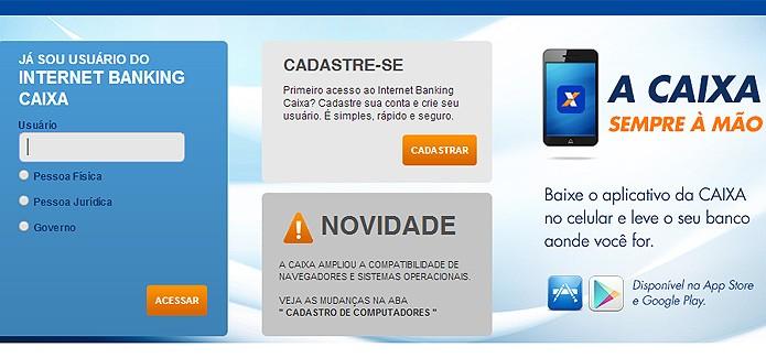 A Caixa oferece acesso via web e também por meio de aplicativo móvel para Android e iOS (Foto: Reprodução/Karla Soares)