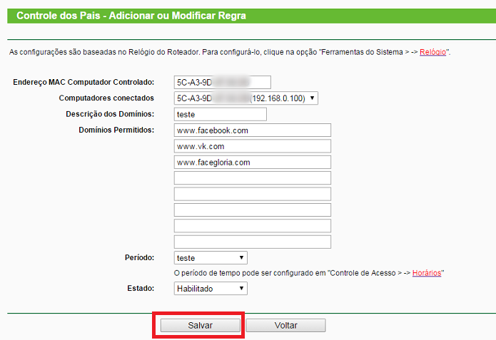 Adicione os sites e clique em Salvar (Foto: Reprodução/Gabriel Ribeiro)
