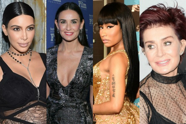 Kim Kardashian, Demi Moore, Nicki Minaj e Sharon Osbourne (Foto: Getty Images)