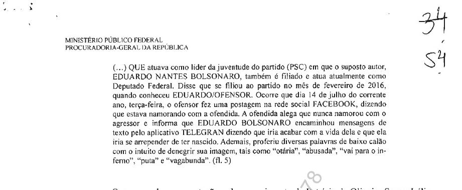 Eduardo Bolsonaro é acusado de ameaçar filiada do PSC (Foto: Reprodução)