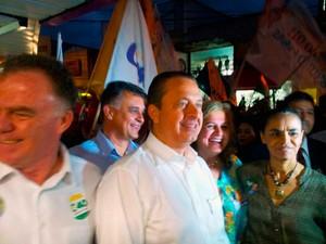 Eduardo Campos e Marina Silva em visita ao Espírito Santo (Foto: Viviane Machado/ G1)
